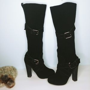 Betsey Johnson Shoes - Betsey Johnson Knit Sweater Buckle Knee-Hi Boots